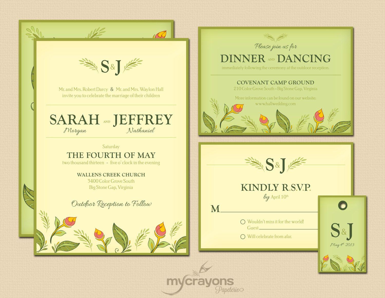 Rustic Spring Blossom Garden Wedding Invitation Set // DIY Printable ...