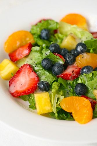 Orange poppyseed vinaigrette on strawberry salad