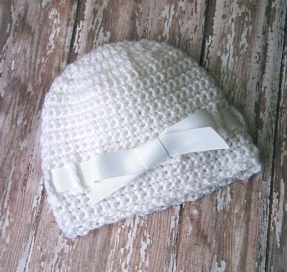 Newborn Girl Hat Crochet Baby Hat with Bow Newborn Hat | baby hats ...