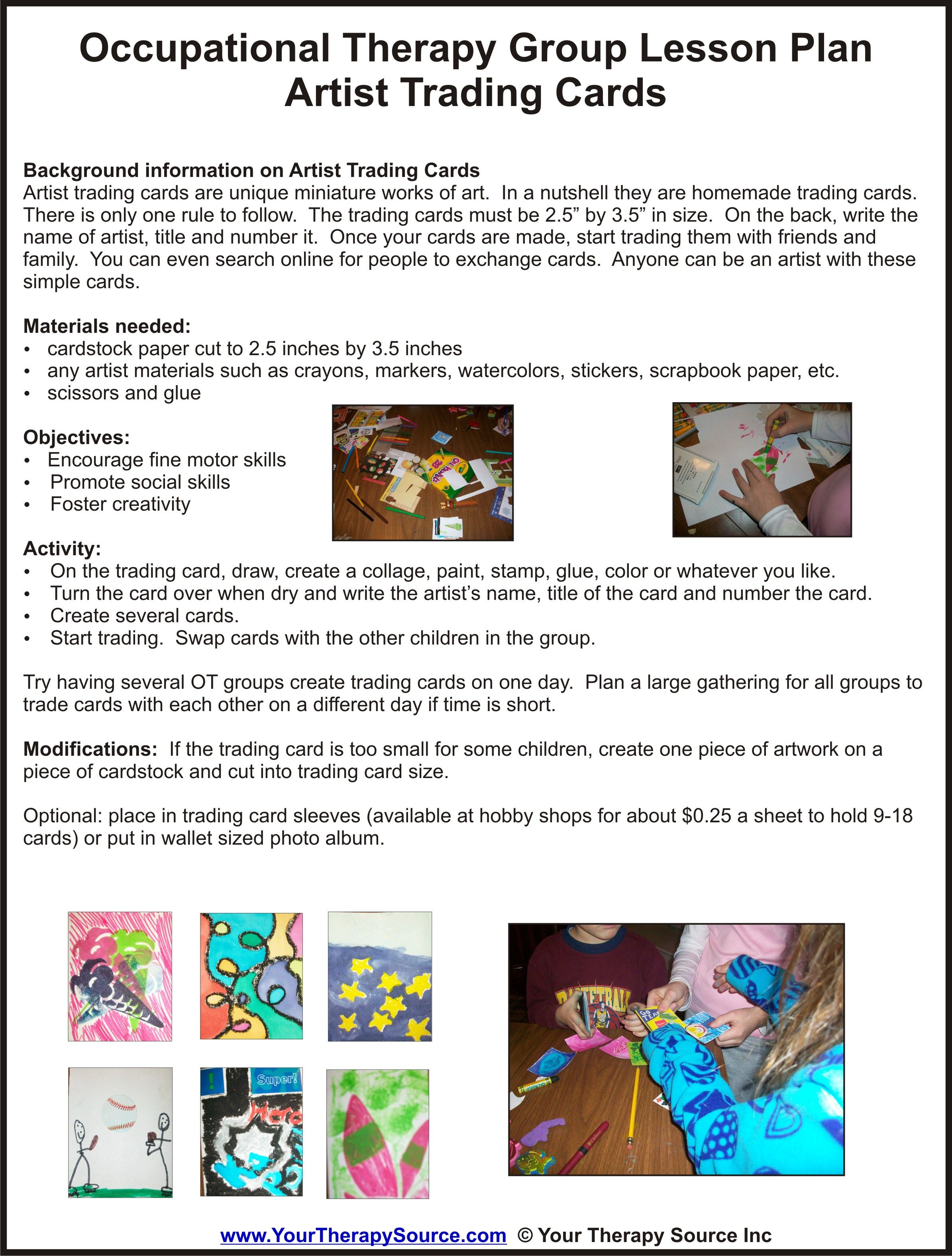 Ot Group Lesson Plan Trading Cards