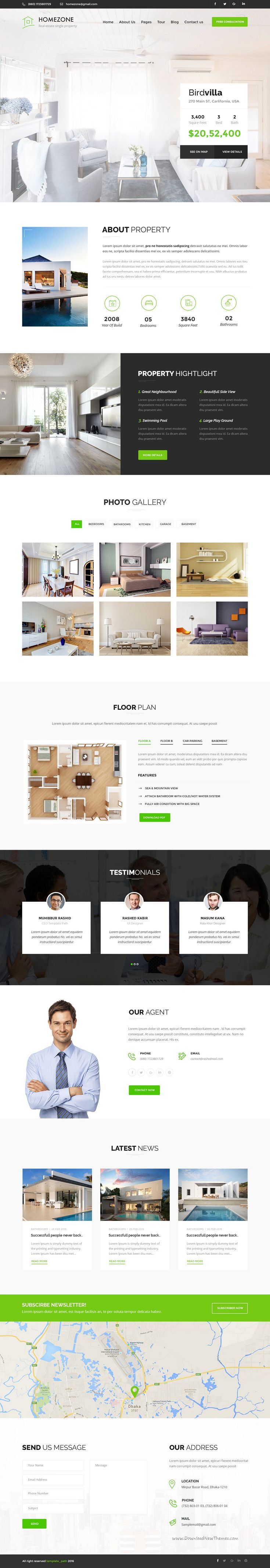 HOMEZONE - Single Property Real Estate PSD Template | Moderno