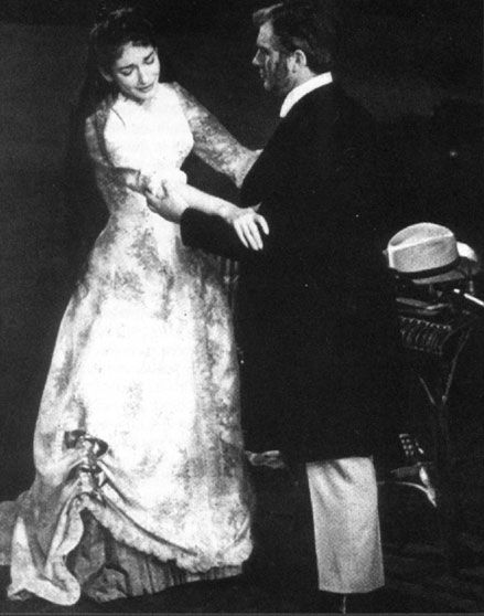 Callas as Violetta, Bastianini as Germont. La Traviata, La Scala; director Visconti; designer Lila de Nobili.