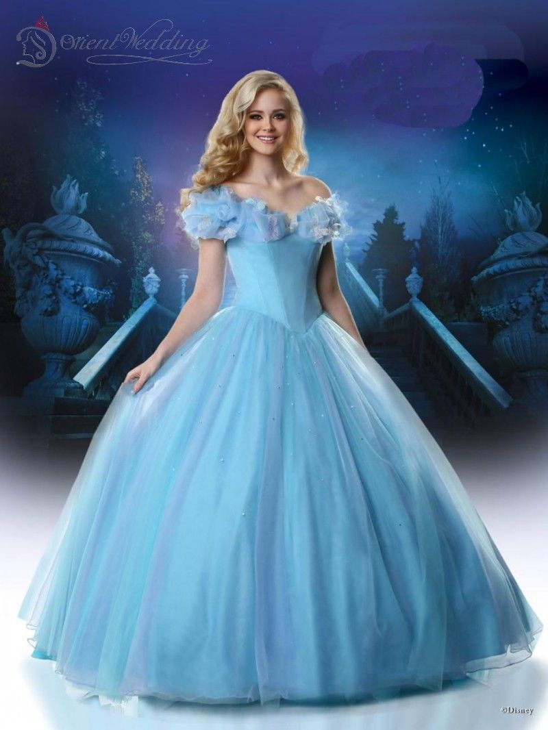 2015 Ice Blue Cinderella Movie Dresses butter fly Pageant Dress ...