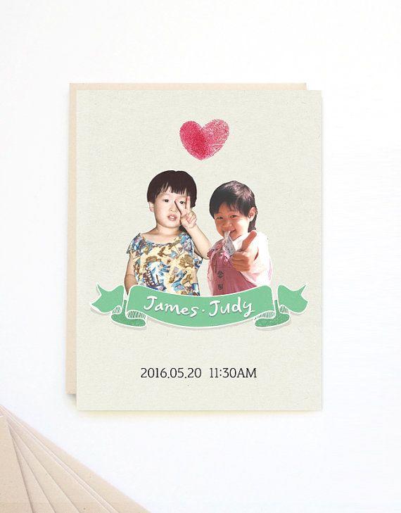 Printable Wedding Invitation / Downloadable / DIY Wedding Invitation / Childhood Photo / Finger Print Heart / Personalized wedding / IV05