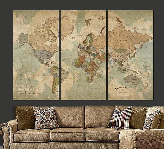 Push pin travel map of world vintage map push pin map push pin push pin travel map of world vintage map push pin map push pin world map world map canvas wall art large wall art gumiabroncs Images