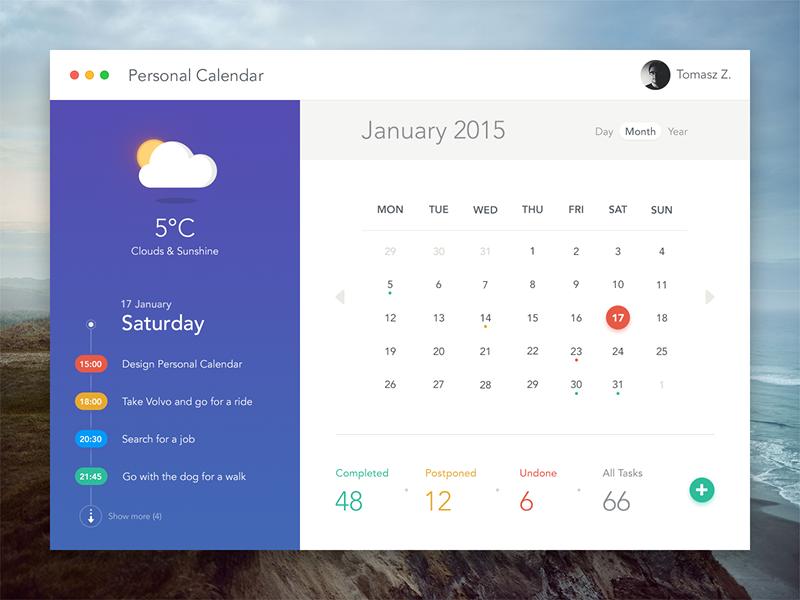 Personal Calendar  Ui Ux Ui Design And Ui Ux Design