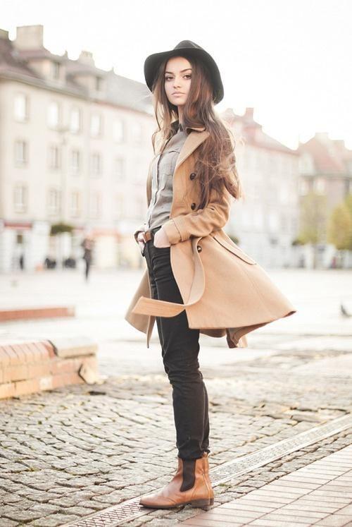 983c9acf3 Chelsea boots, black skinnies, camel coat, wool felt hat   Clothes ...