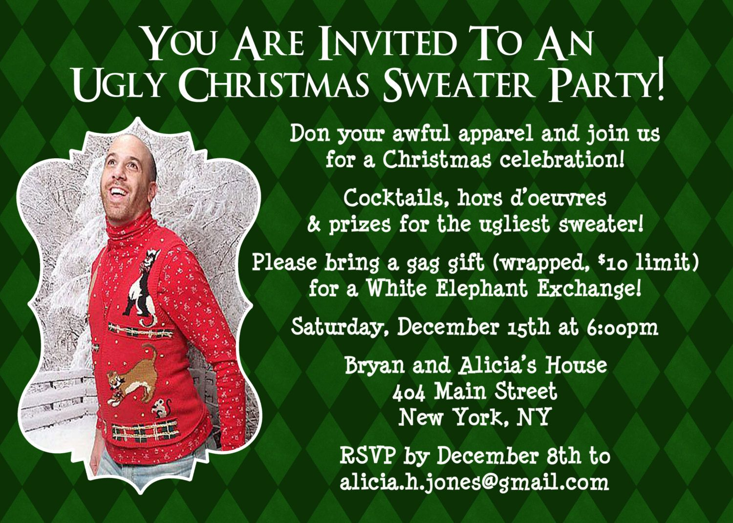 Ugly Sweater Invitation Christmas Party Invite Ugly Sweater Party