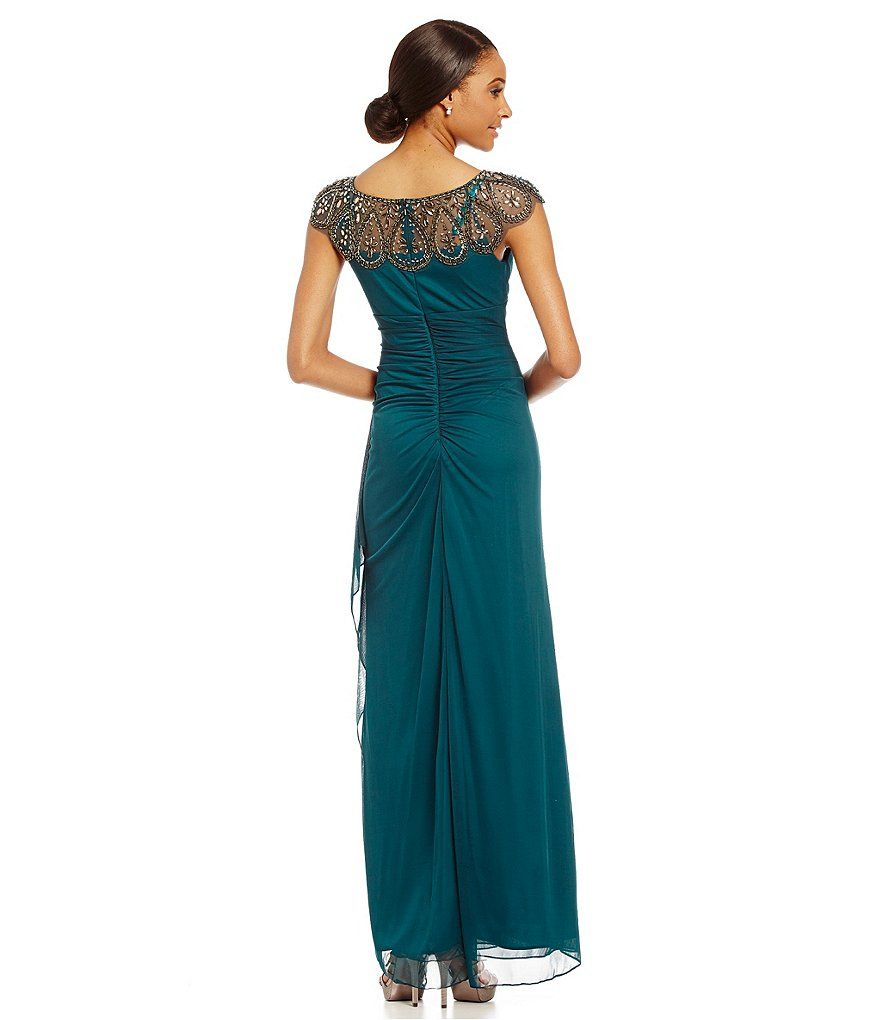 Neo Emerald:Xscape Beaded Illusion Neck Ruched Gown | Brandywood ...