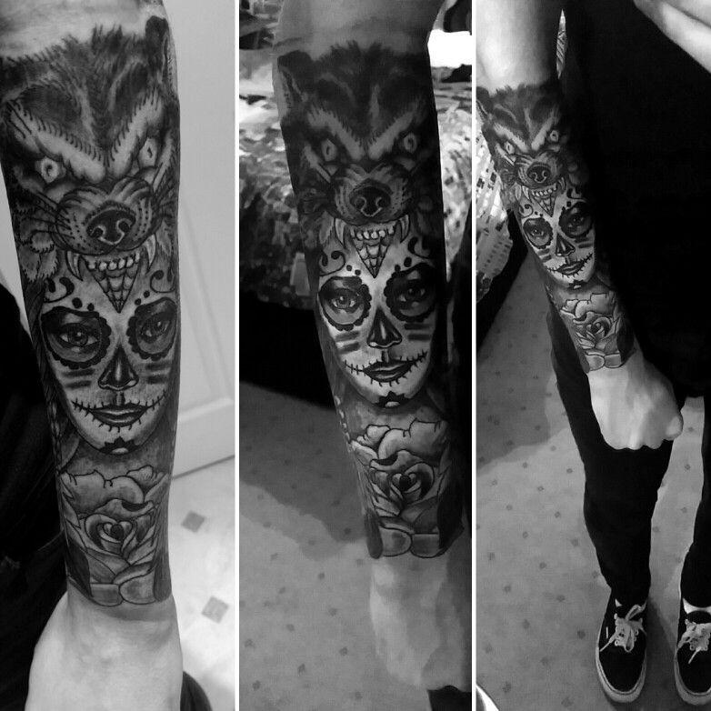 Wolf Headdress Tattoo: Day Of The Dead Wolf Headdress