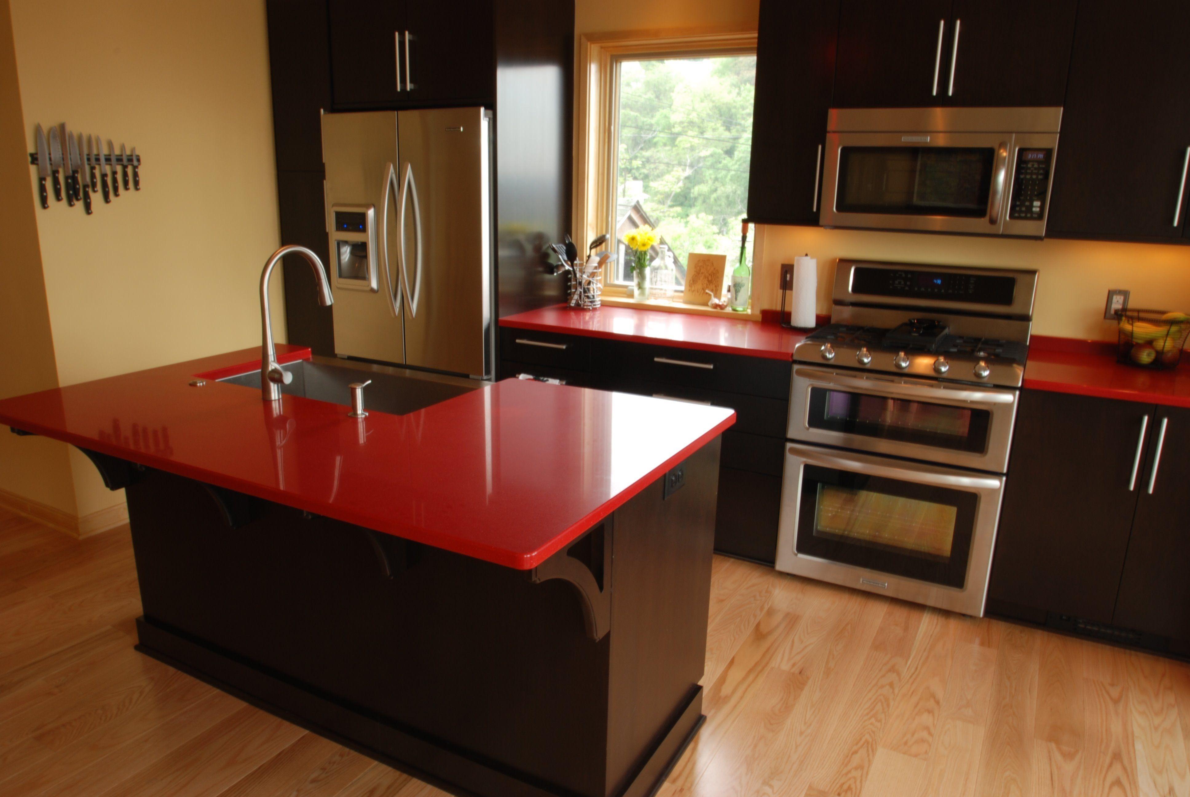 Red Quartz Kitchen Countertops Cozinhas Cozinha Moveis Sob Medida