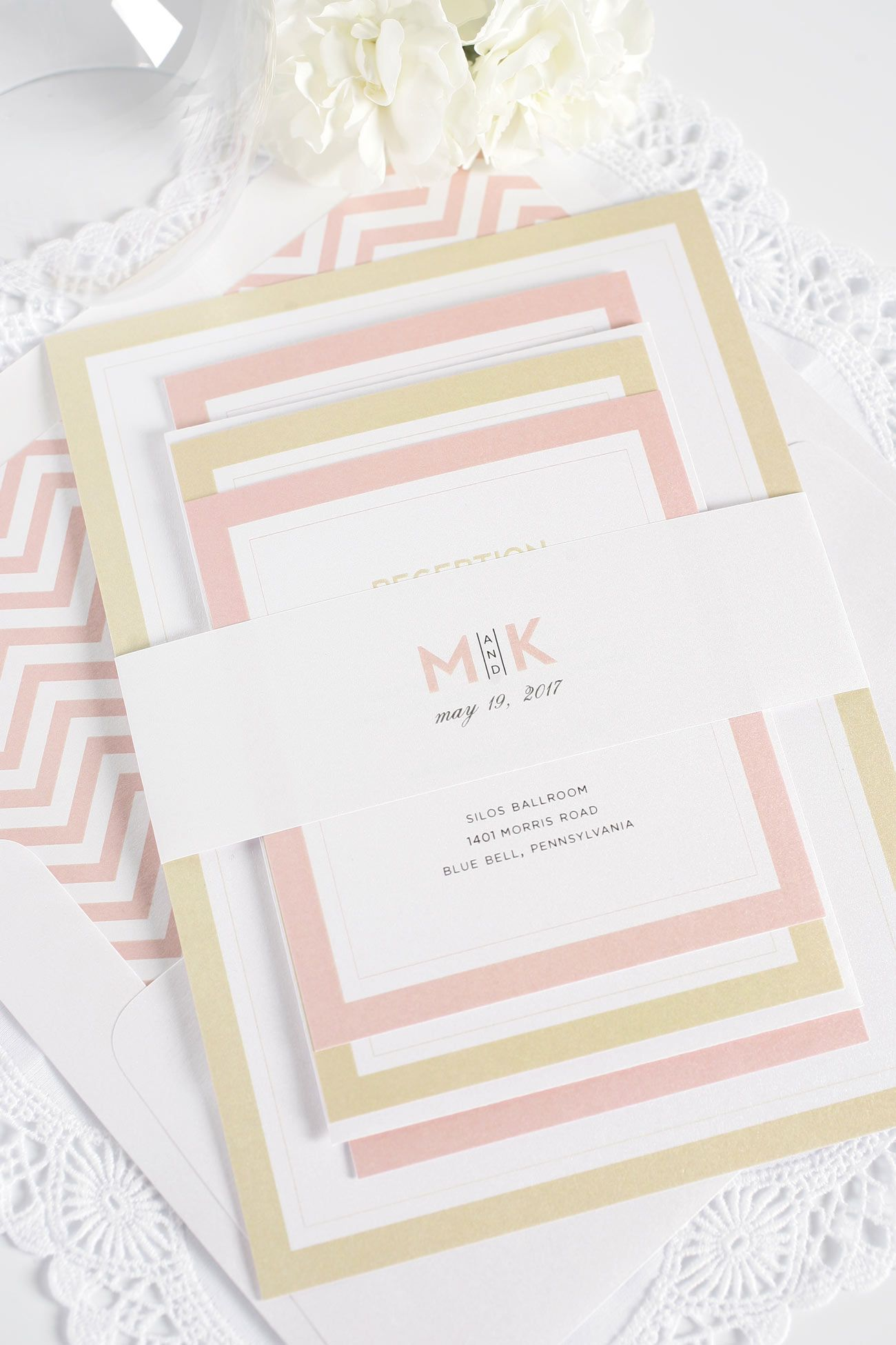 blush and gold wedding invitations with chevron envelope liner love the layered look http - Blush And Gold Wedding Invitations