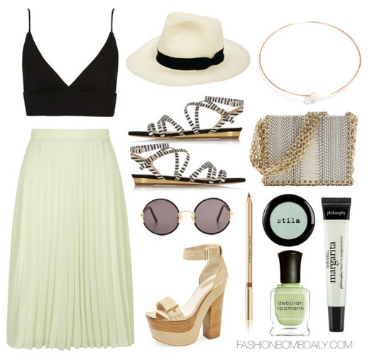 8f3407f39ad What to Wear to a Day Party Dorothy Perkins Luxe Apple Pleat Midi Skirt  Topshop Jersey Bralet Topshop Lark Platform Sandal VC Signature Via .