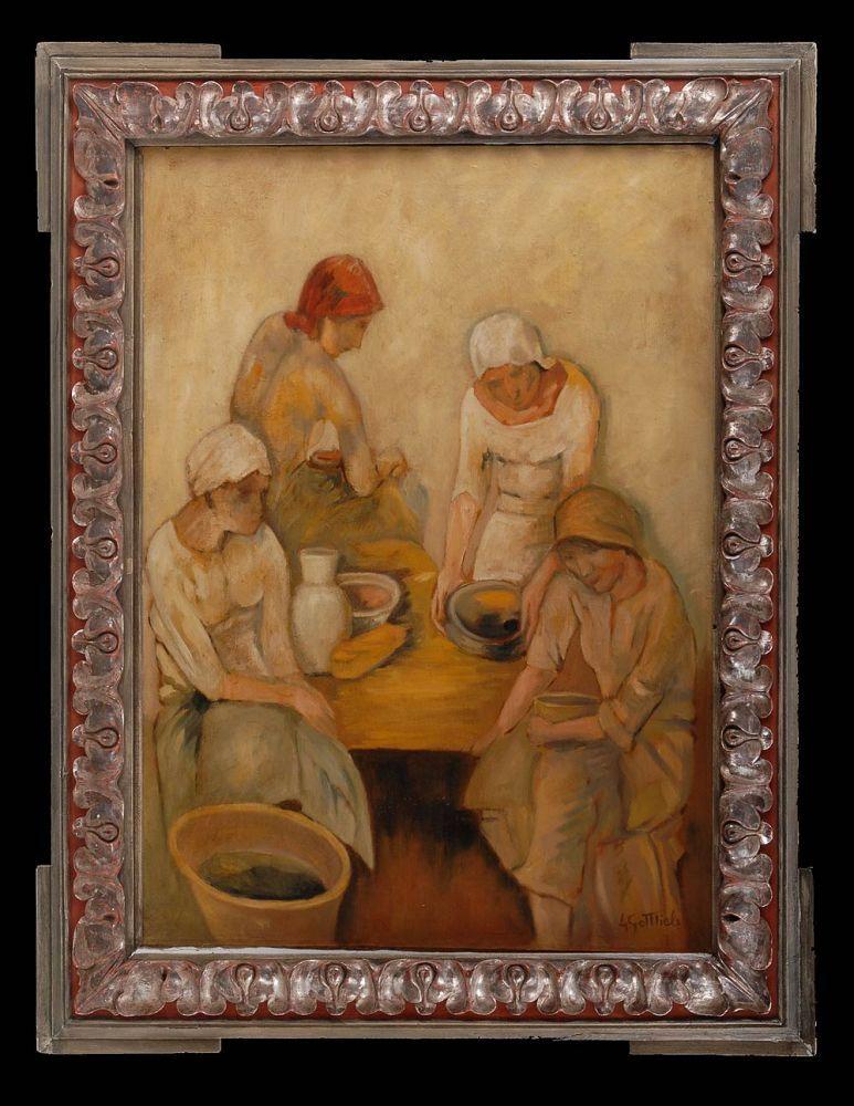 Gottlieb, Leopold: Vier Frauen in der Küche. Öl/Leinwand, rechts unten signiert. Vier Frauen mit Kopftüchern an einem Tisch mit Schüsseln, Vase und einer Wanne. Eine sehr kleine restaurierte Stelle mit Hinterklebung. 83 x 82 cm, Silberrahmen mit versilberter Stuckornamentik 105 x 83 cm.