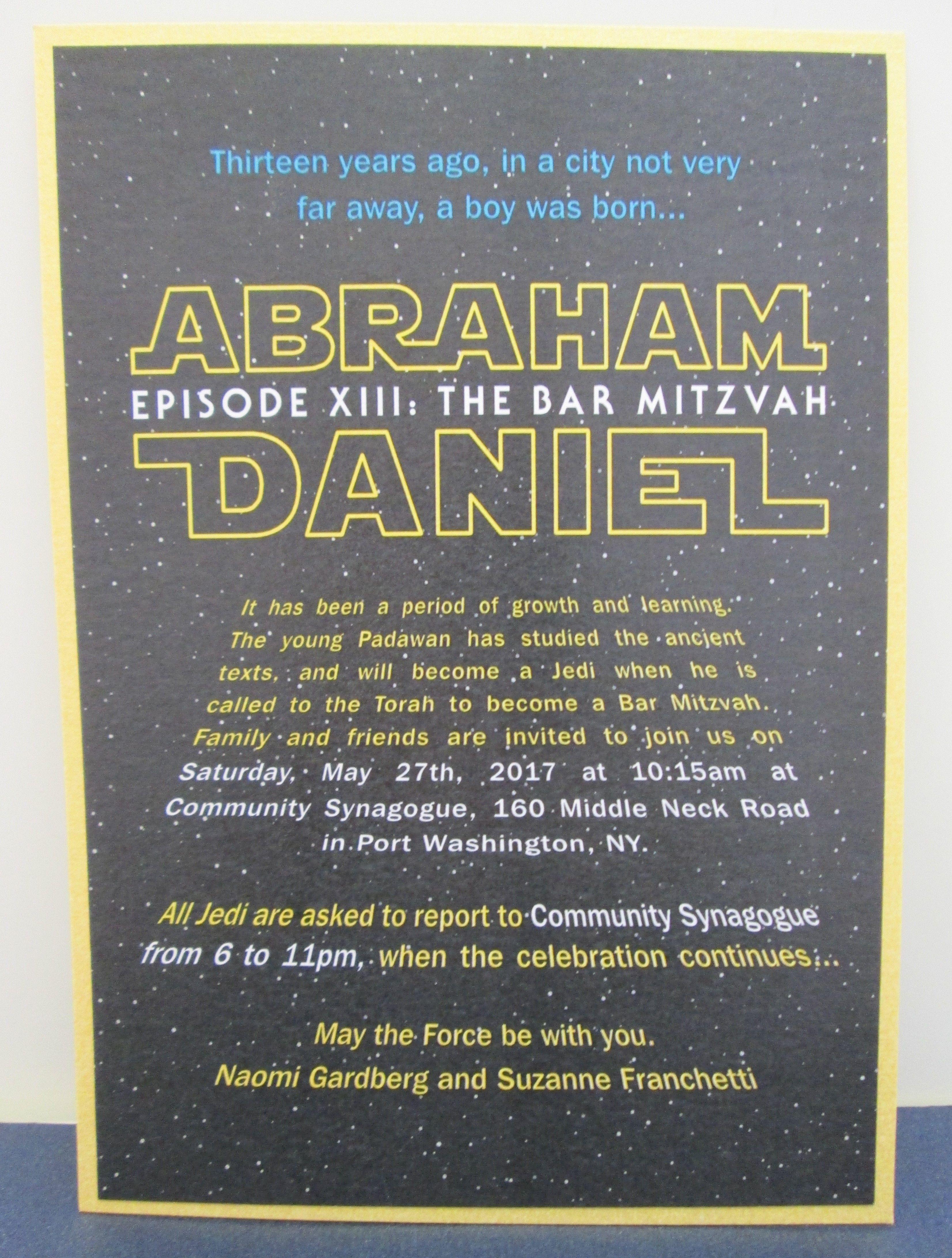 Star Wars Themed Bar Mitzvah Invitation Shower Invitations More