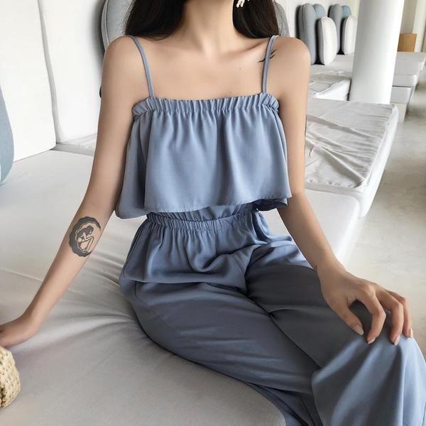 Acheter bleu noir élégant sans manches élastique haut 2 pièces costume pantalon long ensemble coréen …   – Kıyafet seçenekleri