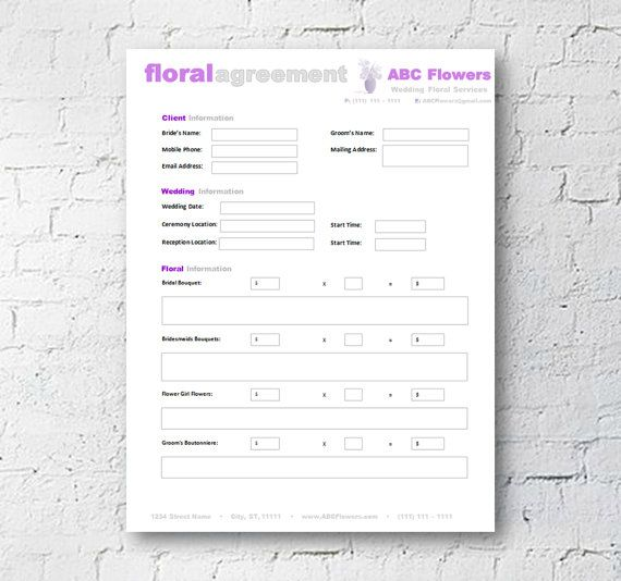 Floral Shop Bridal Agreement Contract Template Editable - microsoft contract templates