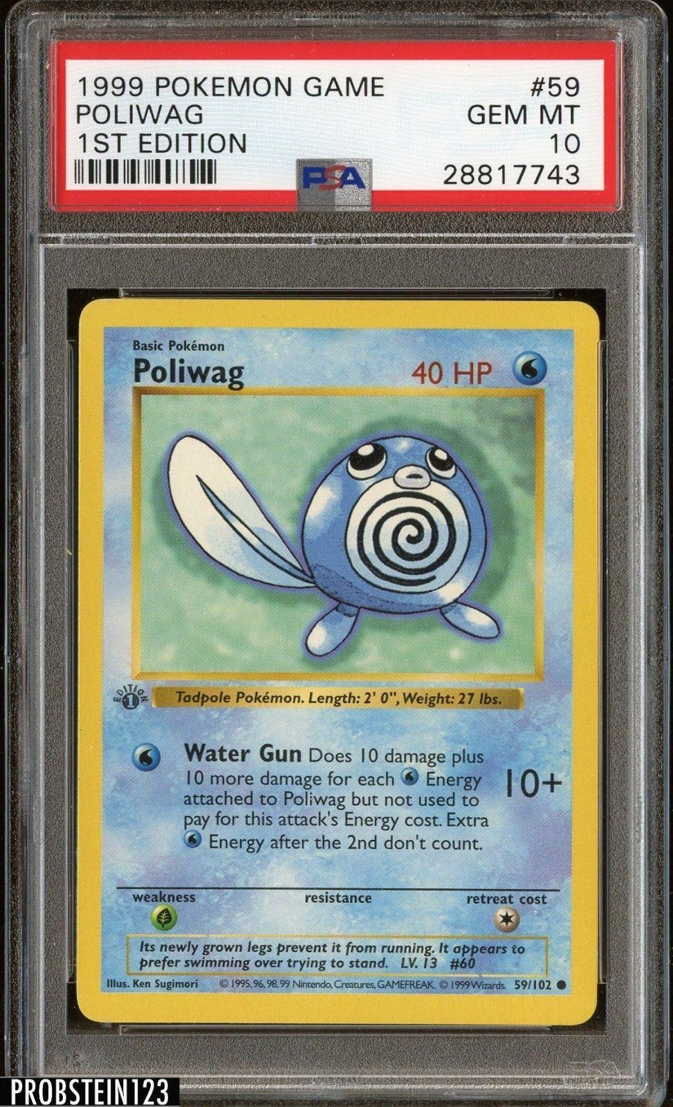 1999 pokemon game 1st edition 59 poliwag psa 10 gem mint