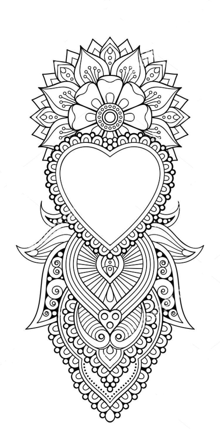 Zentangle Coloring Page Mandala Tattoo Mandala Coloring Pages