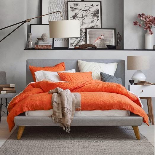 Ideias decor cores cinza e coral Decoração e Ideias bedrooms - Orange Bedrooms