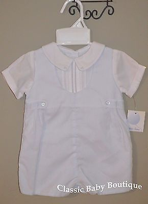 846d4b54b0 Handsome shortall with white faux undershirt with pintucks and ...