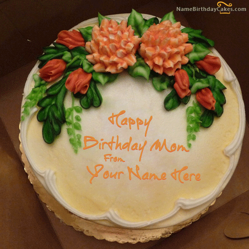 write name on Vanilla Birthday Cake For Mother picture HBD Cake