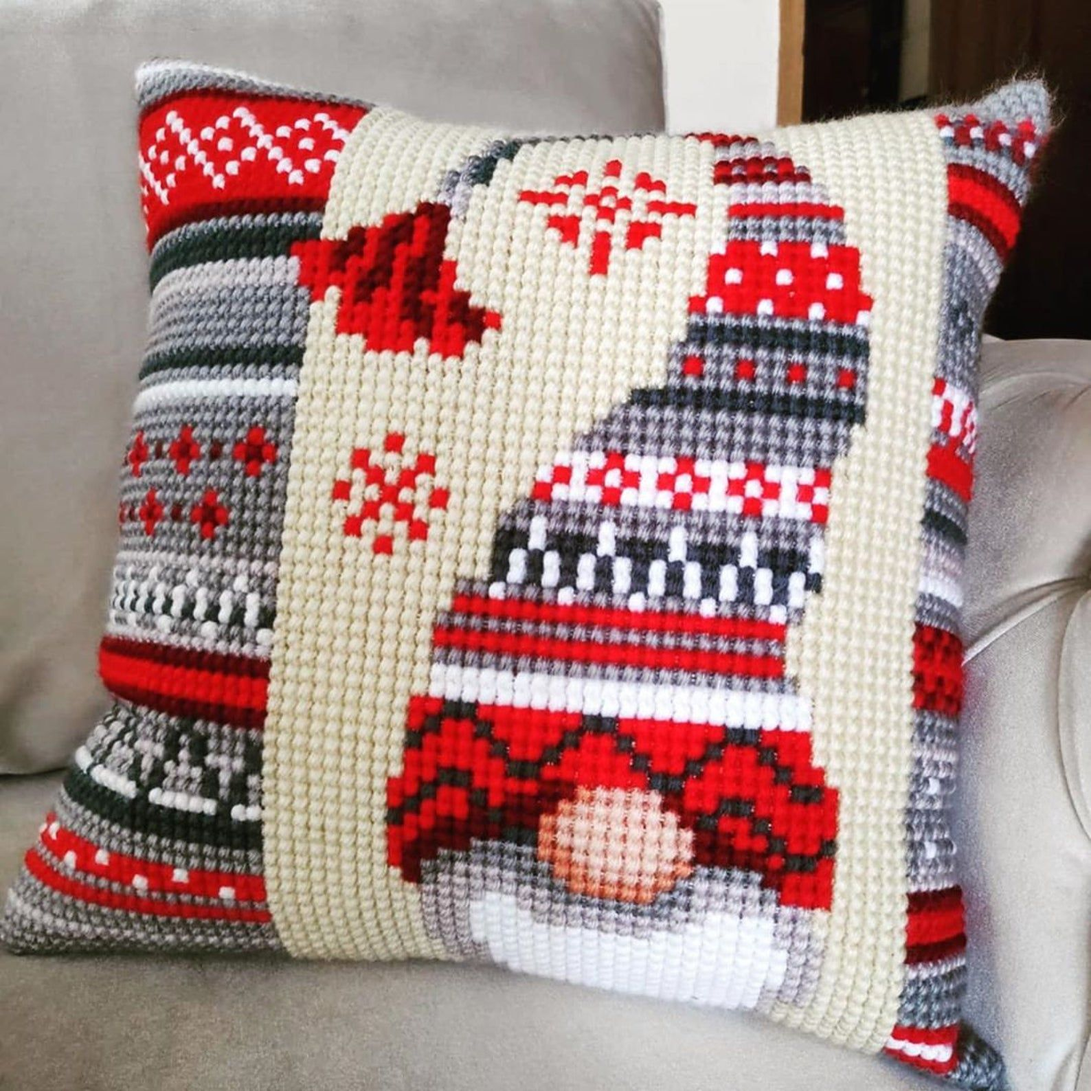 Set of 2 DIY cross stitch kit, rustic Christmas embroidery for a cushion