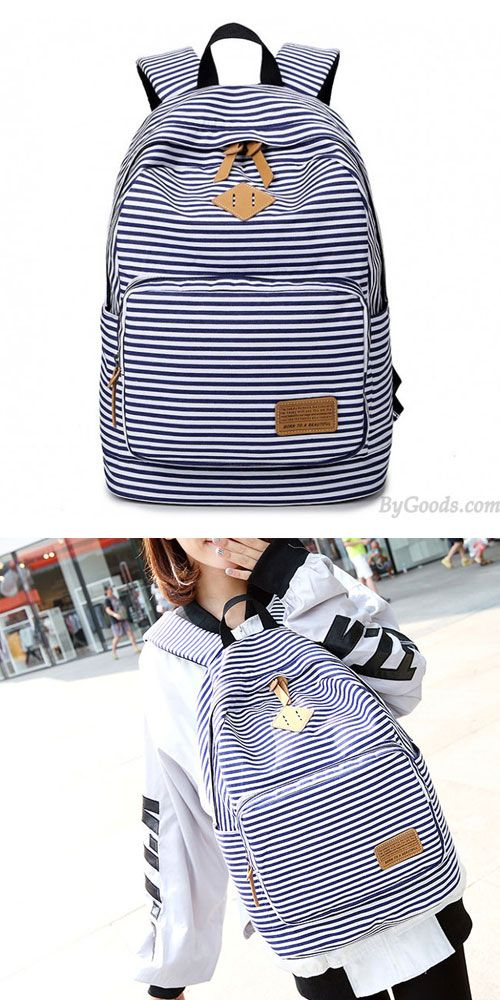 A cute Summer Striped Leisure Canvas Backpack!!! OMG.  backpack  striped   canvas  rucksack  college  bag  student 0216e94043355