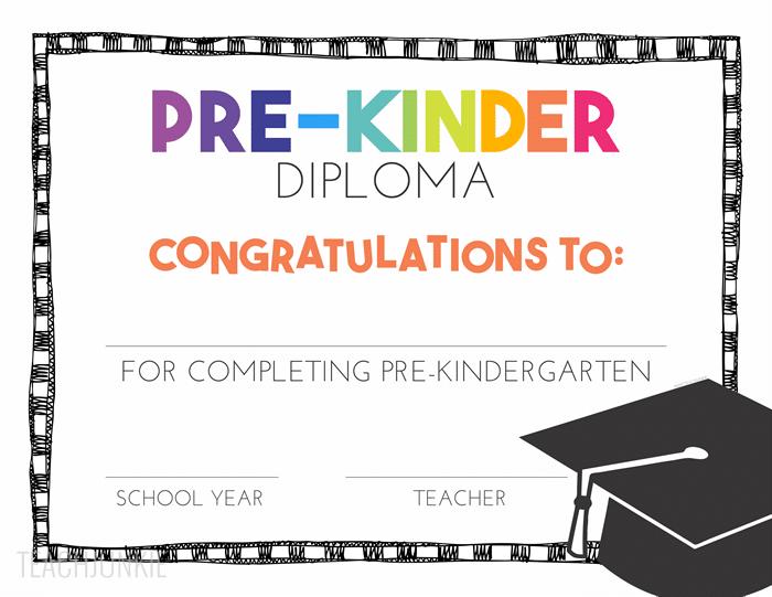 free pre k and kindergarten graduation diplomas kindergarten