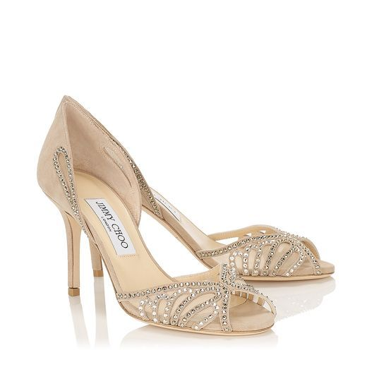 Jimmy Choo Kamba with hotfix crystals - perfect with a Lovelight Designs fascinator to match.