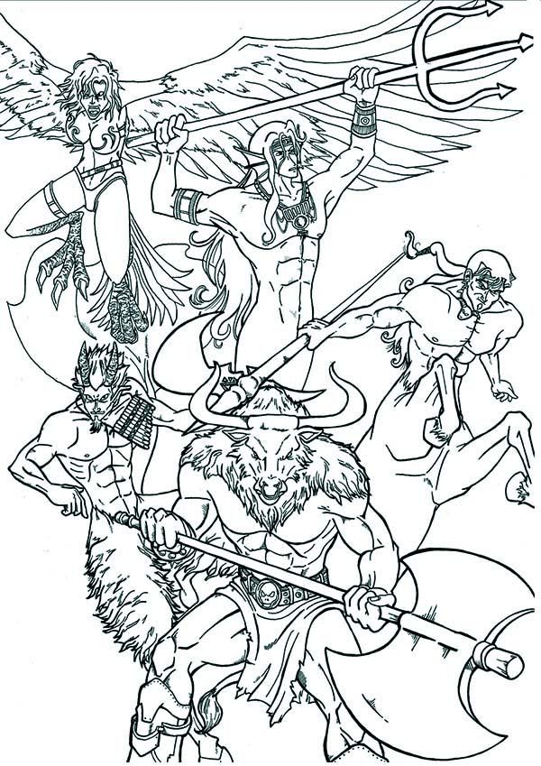 Greek Mythology An Artistic Illustration Of God And Goddess Coloring Page