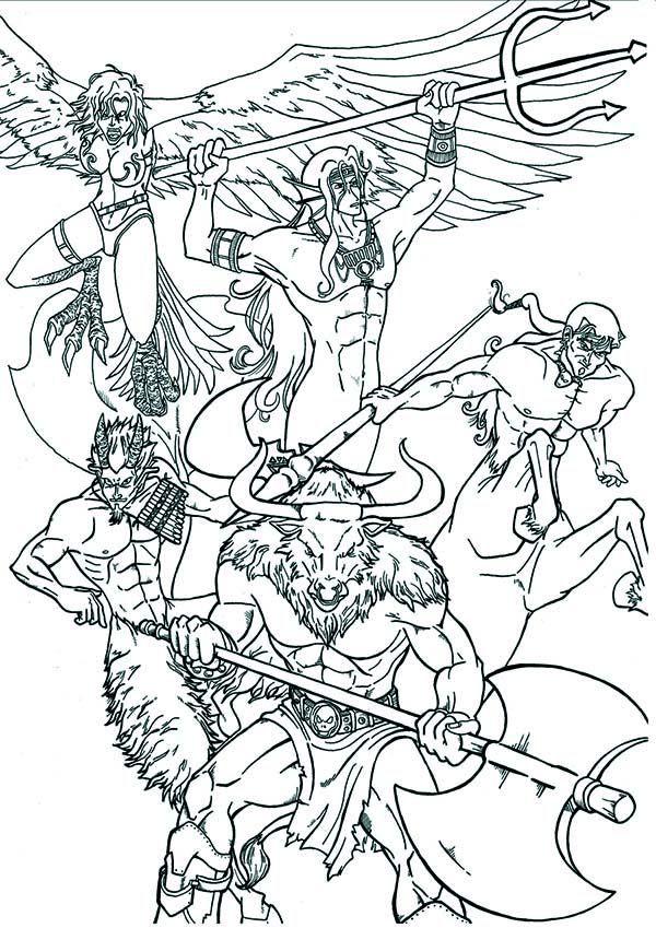 An Artistic Illustration Of Greek Mythology God And Goddess