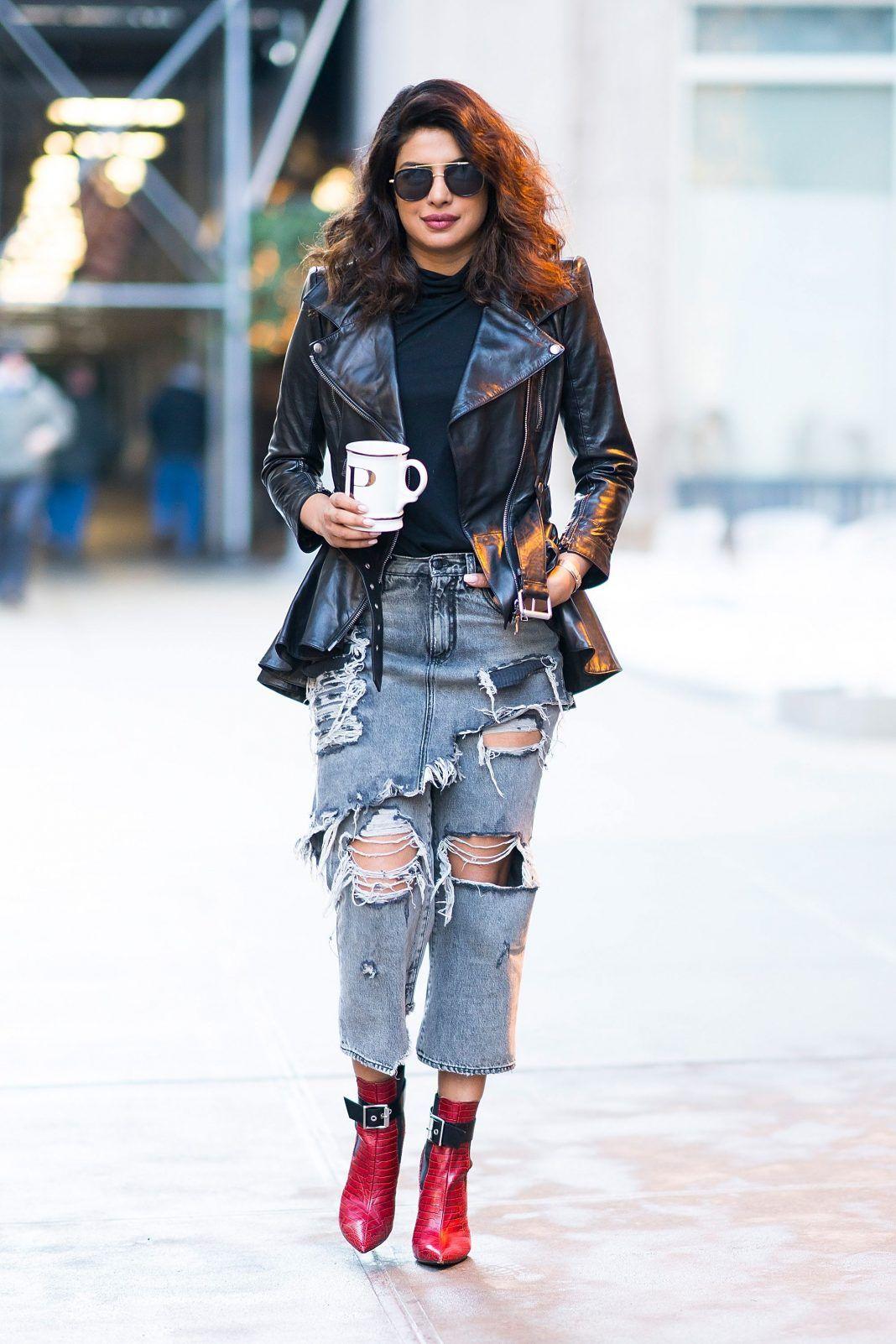 64ebc5b7d0ea Priyanka Chopra Ripped Jeans Street Style 2018  Priyanka chopra-style-fashion-street-moments-2018   Priyanka Chopra