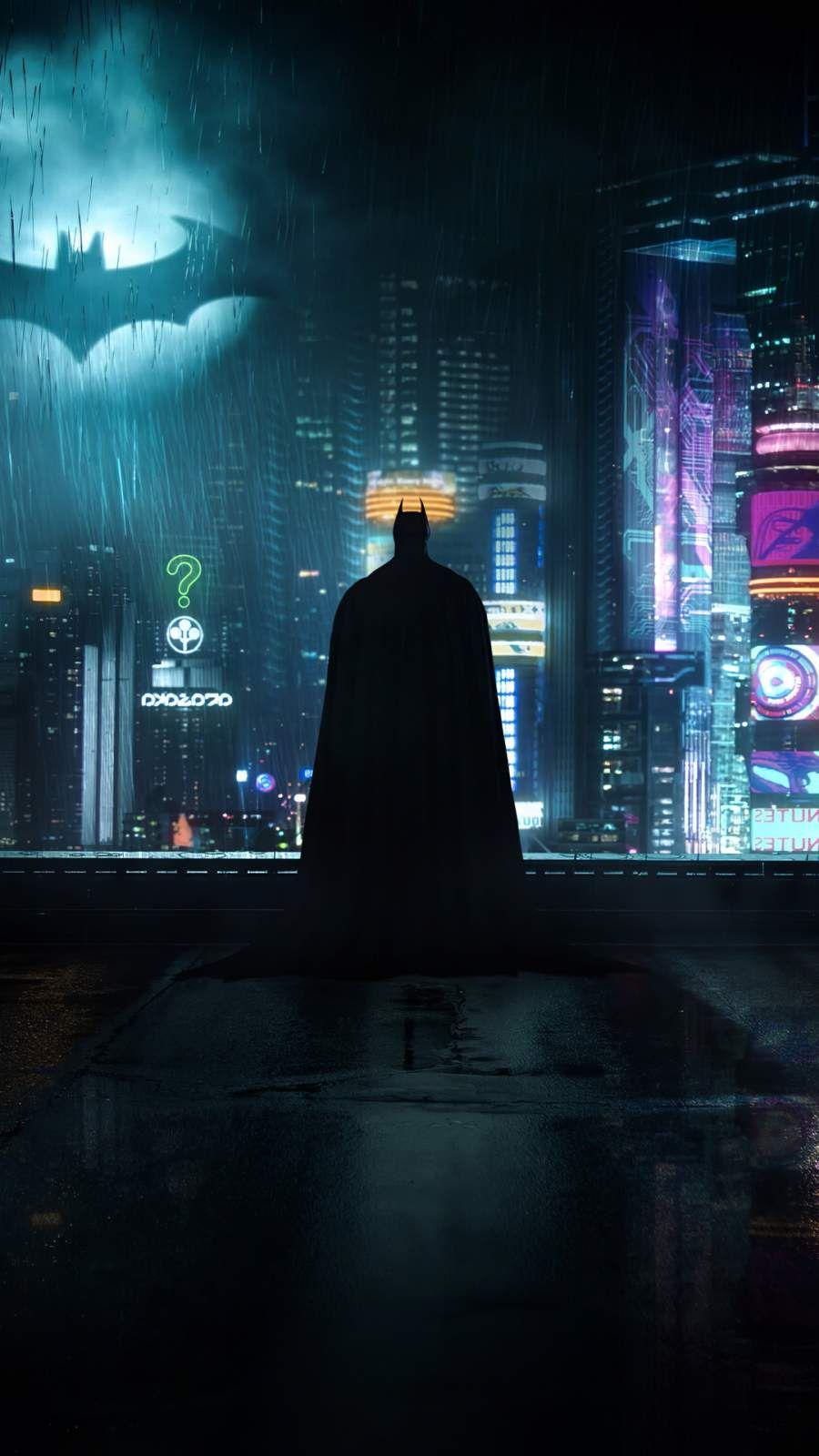 Neon Gotham Batman Iphone Wallpaper Batman Wallpaper Batman Artwork Gotham Batman