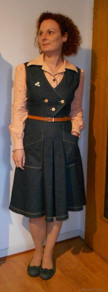 MMMay15 Day 4: Vintage-Jeansdress: American Weekly 3804 Blouse: Burda 1/2011 Modell 107 #mmmay15