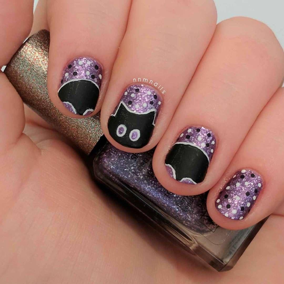 Nnmnails On Instagram Halloween Bat Nail Art Glitter Purple Polka