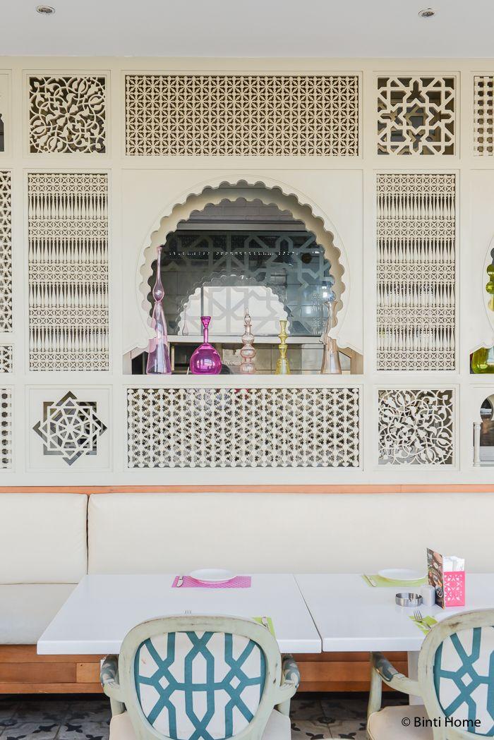 Mashrabiya wood wall modern arabic interior at tamara