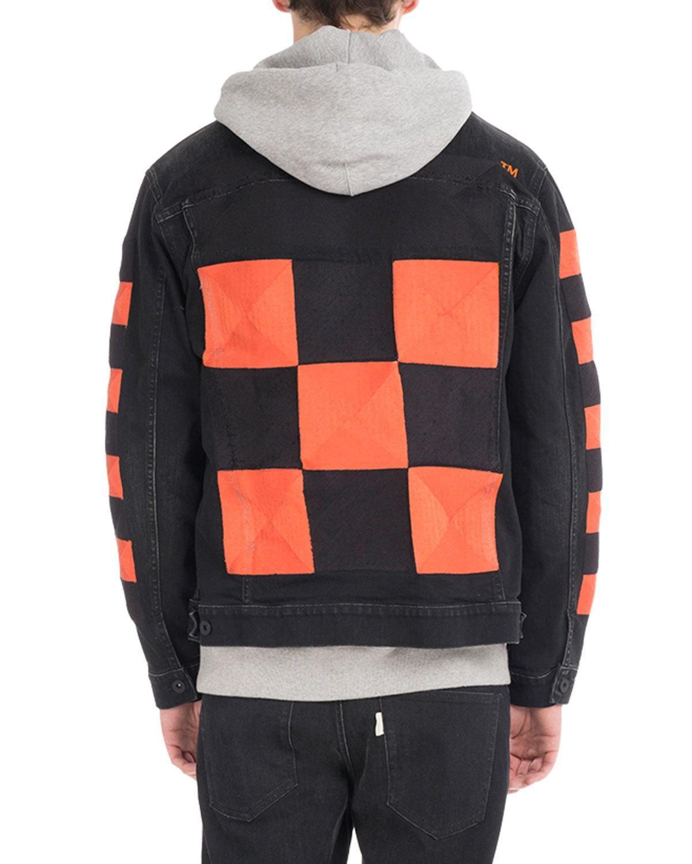 Off White Checker Oversized Denim Jacket Oversized Denim Jacket Denim Jacket Jackets [ 1500 x 1200 Pixel ]