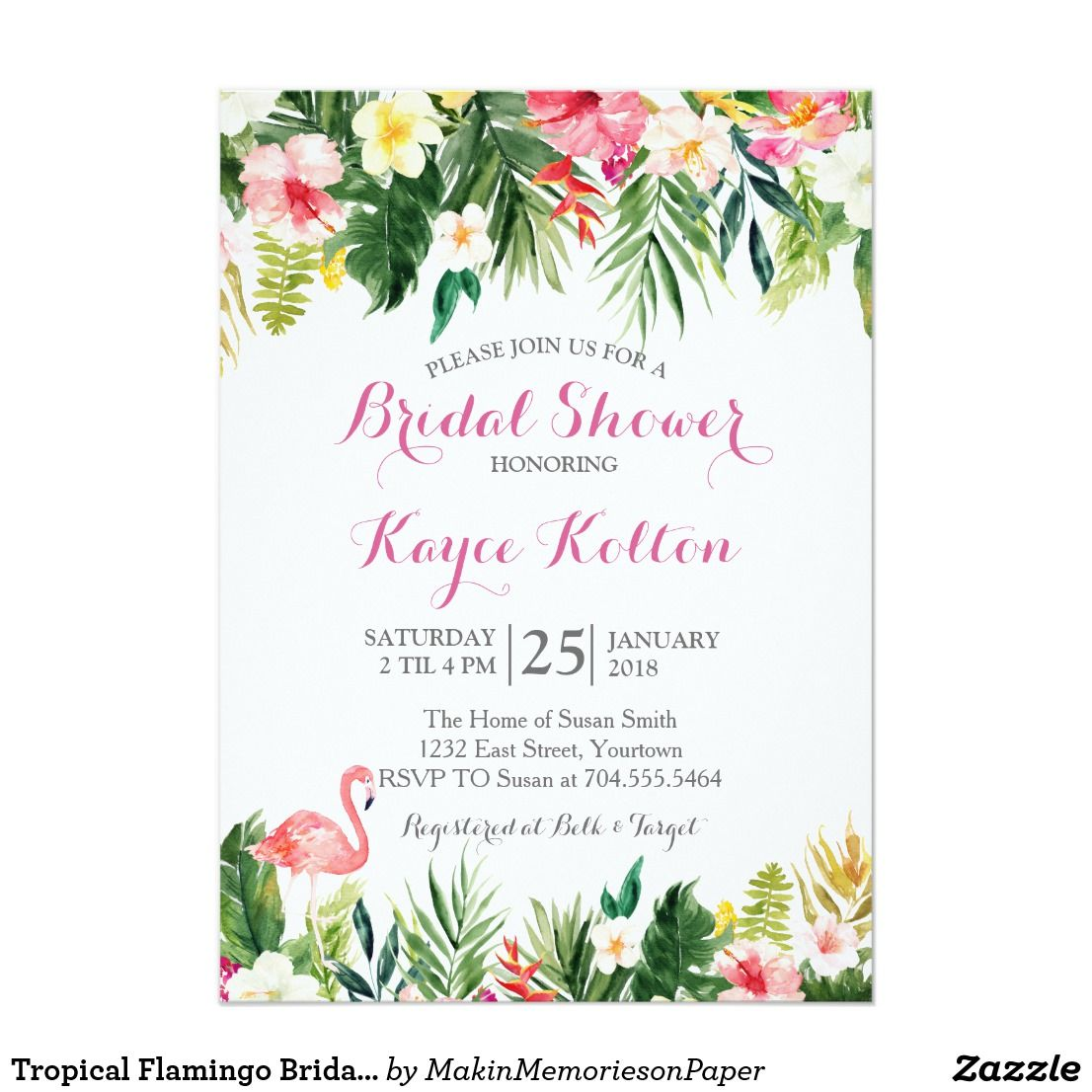 tropical flamingo bridal shower invitation in 2018 how to plan the