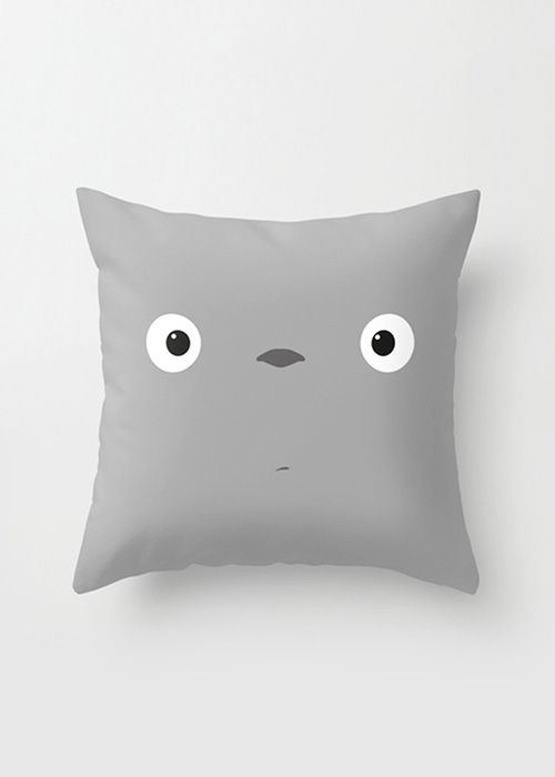 I can make this with Archer's old gray sheets!  From Wake Up Totoro Pillow Cover | dotandbo.com