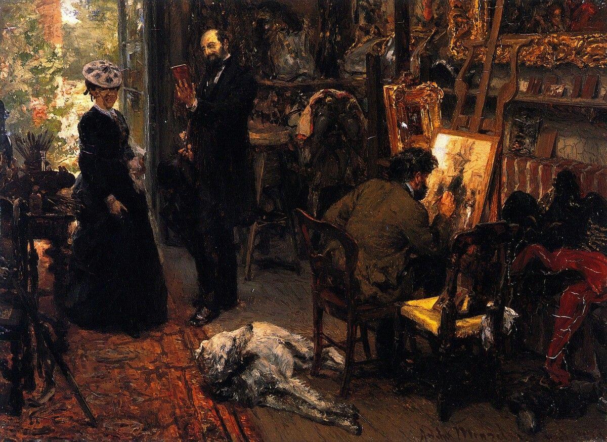 Meissonier in his Studio at Poissy, 1869, Adolph von Menzel