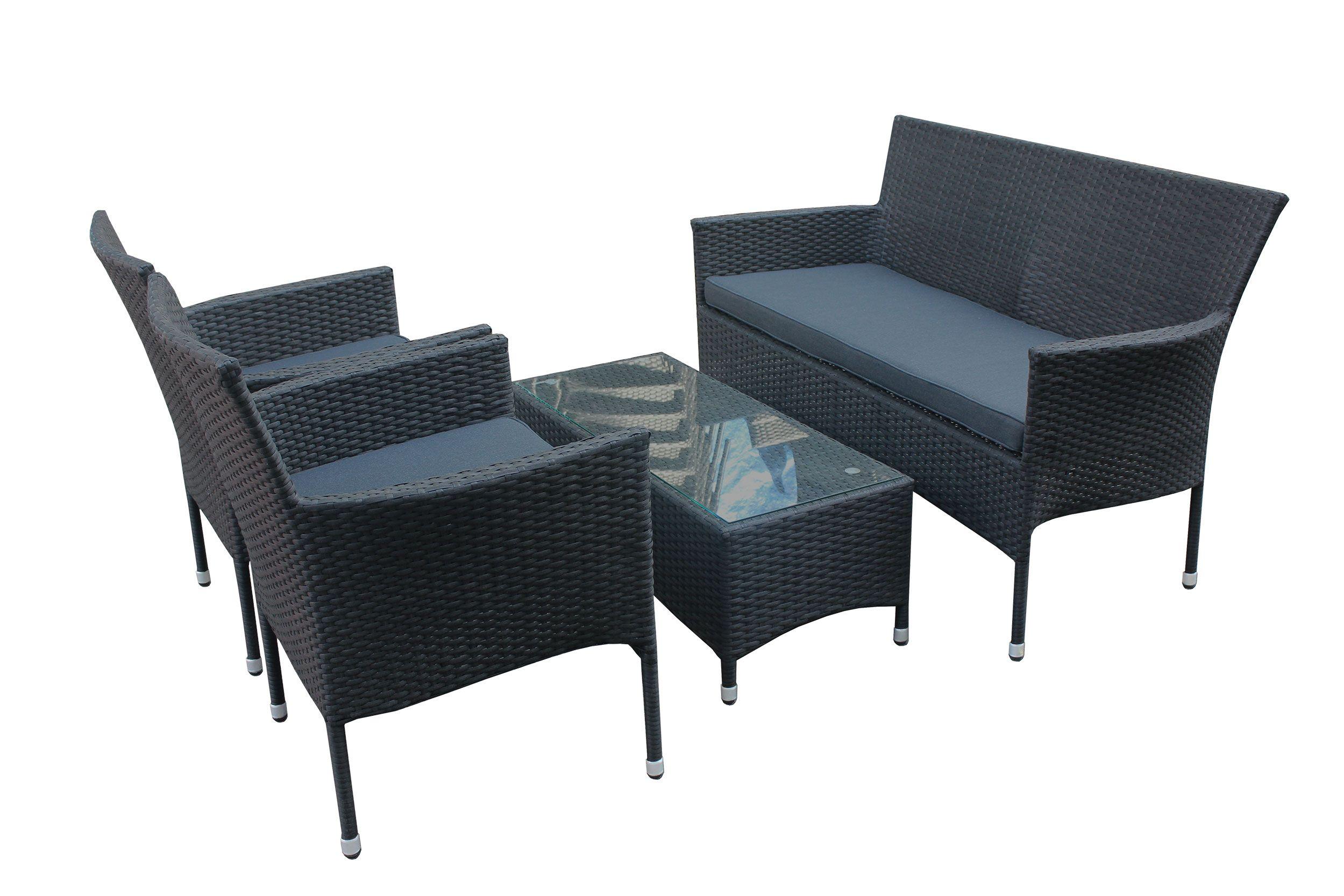 Polyrattan Sitzgruppe 4tlg Sofa Tisch Und 2 Stühle Balkonset