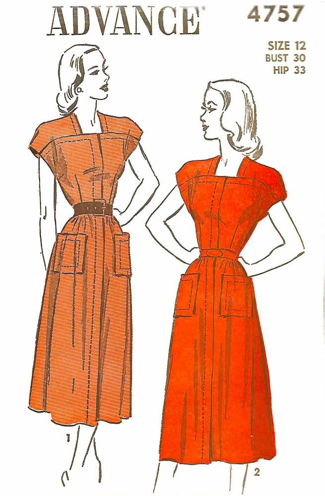 Vintage 1940\'s Sewing Pattern Square Neck Day Dress Cap Sleeves Bust ...