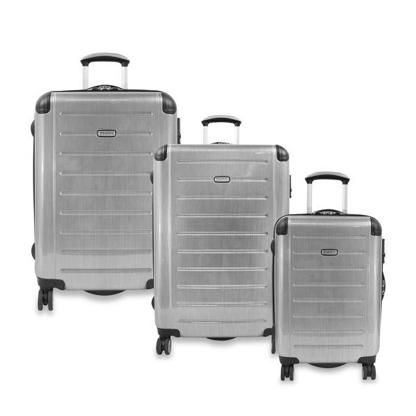 Ricardo Beverly Hills Expandable Spinner Luggage Silver Bed