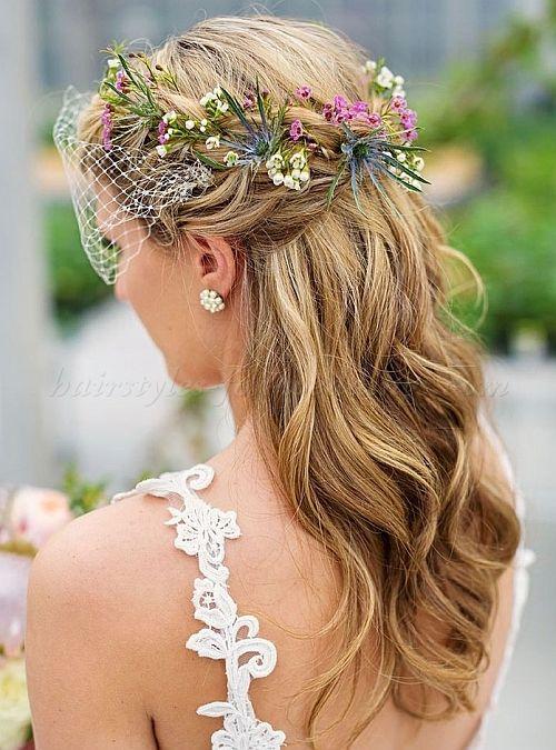flowers wreath in hair
