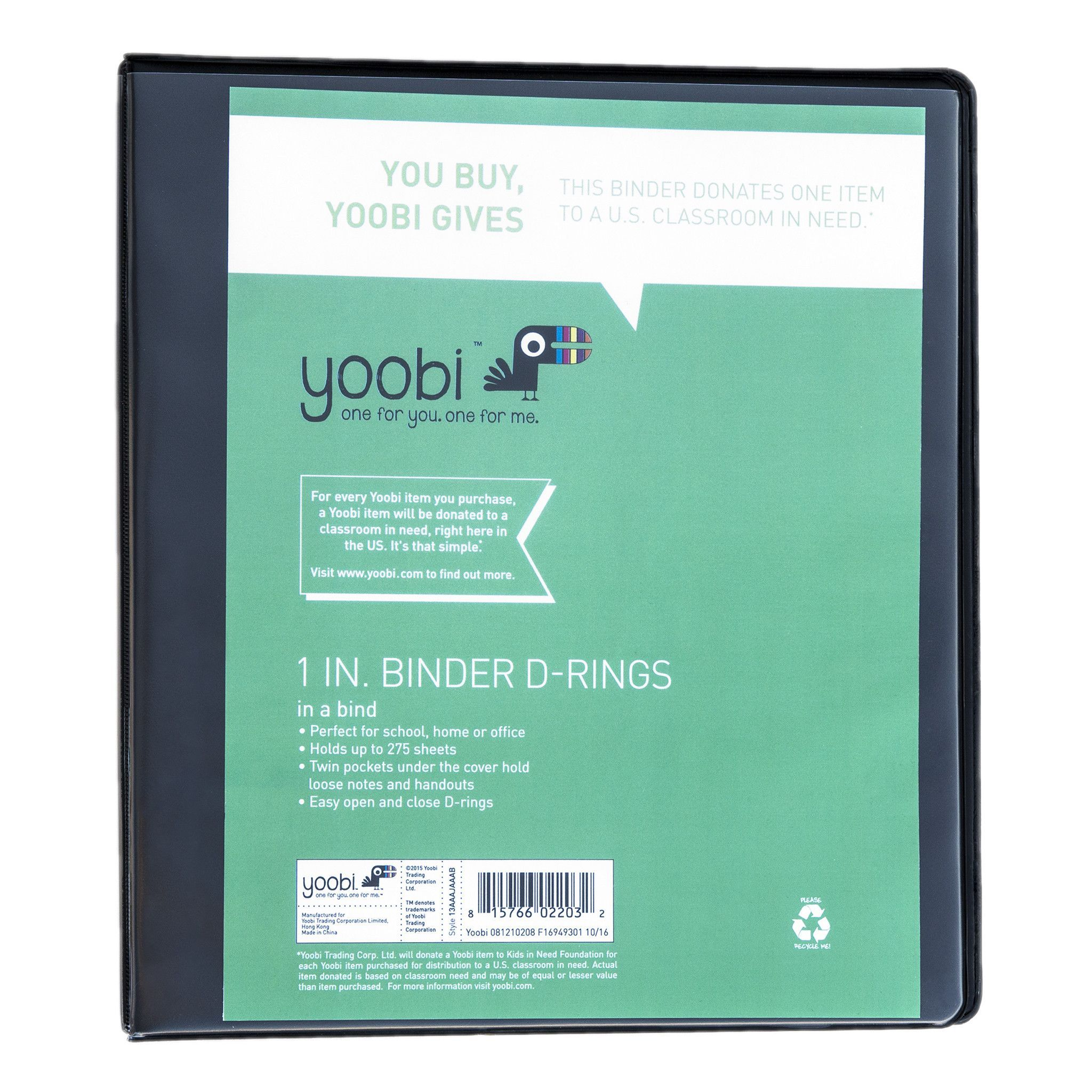 1 Inch Binder With D-Rings - Black