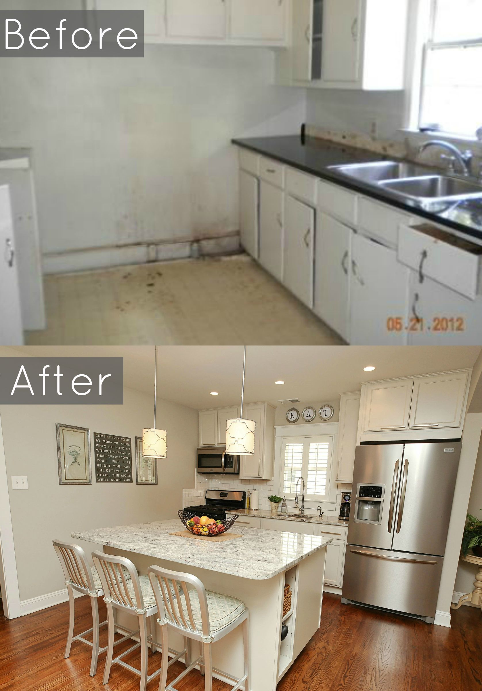 before and after of our 1940's bungalows kitchen #baystreetbungalows
