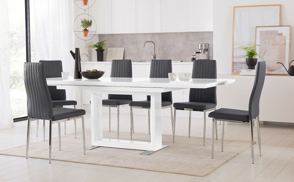 Tokyo White High Gloss Extending Dining Table With 4 Leon Grey