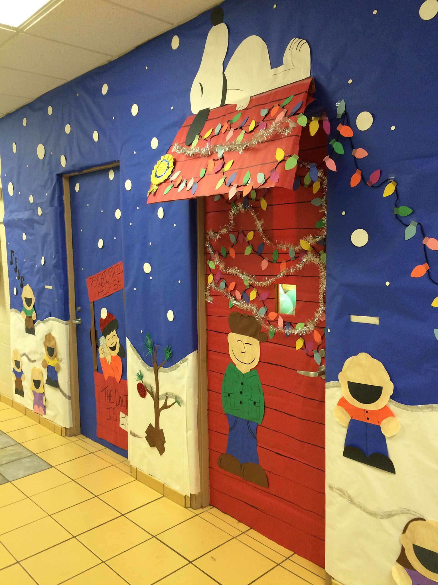 Charlie Brown Snoopy Charlie Brown Door Decoration Charlie Brown #christmasdoordecorationsforschool