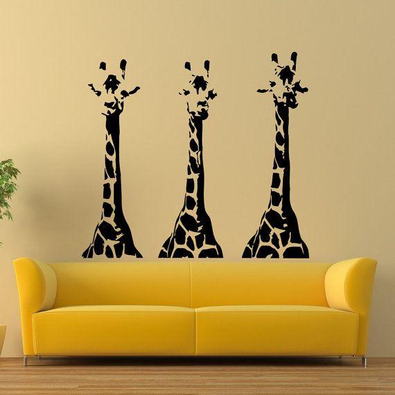 Giraffe Wall Decal Wild Animals Jungle Safari Wall Decals Vinyl ...